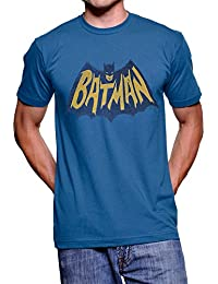 TV Store Junk Food Batman Vintage Logo Light Navy Adult T-shirt Tee