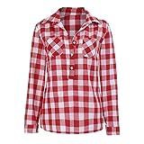 FORH Damen Klassisch Langarm Kariertes Hemd Slim Fit Revers Longshirt Cardigan Bluse Casual Lang Ärmel FreizeitBluse Button Trachtenhemd Top (Rot, M)
