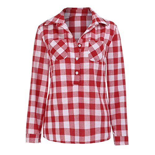 FORH Damen Klassisch Langarm Kariertes Hemd Slim Fit Revers Longshirt Cardigan Bluse Casual Lang Ärmel FreizeitBluse Button Trachtenhemd Top (Rot, (Kostüm Moderne Geist)