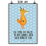 Mr. & Mrs. Panda Poster DIN A4 Fuchs Indianer - Indianer, Fuchs, Füchse, Hunger, Kochen, Geschenk Koch, Deko Küche, Spruch lustig, witzig Poster, Wandposter, Bild, Wanddeko, Geschenk