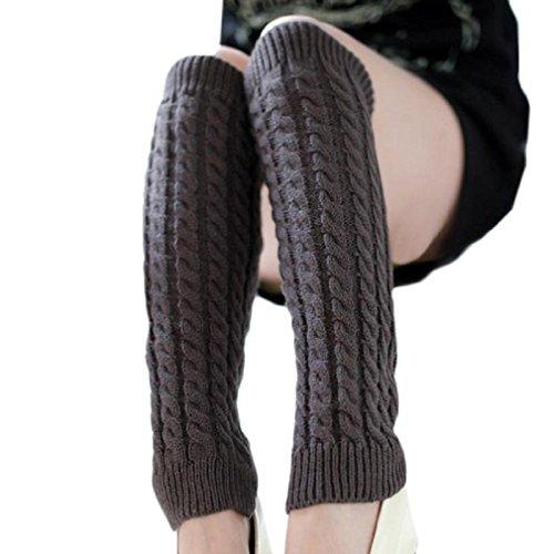 Tonsee Wesentlichen 42 * 10cm Mode Frauen winter warme Stulpen gestrickt gehäkelt lange Socken Winter Warmmer Bein Socken (Grau)