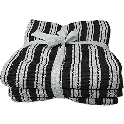 JEMIDI HOMELEVEL Geschirrhandtücher Küchentücher 100% Baumwolle 3er Pack 50cm x 70cm Küchenhandtuch Handtücher Küche Geschirrtuch Set Schwarz