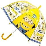 Unbekannt Regenschirm -  Minions - ich einfach unverbesserlich  - Kinderschirm Ø 70 cm / durchsichtig & durchscheinend - transparent - Kinder - groß Stockschirm mit G..
