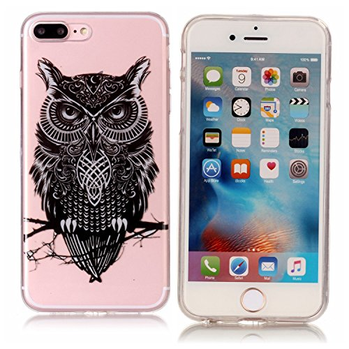 Coque Étui Transparent pour iPhone 8 / 7 Plus, iPhone 8 / 7 Plus Coque en Silicone, BONROY® Cristal Clear Ultra Slim Mince Transparent TPU Silicone Souple Coque Gel Soft Case Housse Anti-choc Etui Cas Hibou qui regarde