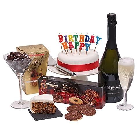 Happy Birthday Geschenkkorb - Der komplette Geburtstags-Geschenkkorb mit Prosecco &