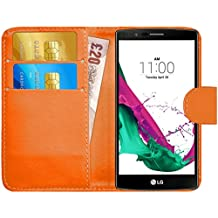 Funda LG G4, G-Shield Carcasa Libro de Cuero Con Tapa y Cartera [Ranuras para Tarjetas] [Cierre Magnético] Funda Billetera Case Cover Para LG G4 - Naranja