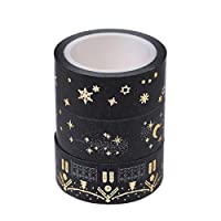 Bhty235, Multi-Pattern Decorative Washi Tape Black Moon Stars Paper Sticky Adhesive Sticker Decorative Washi Tape 1.5cm X 5m