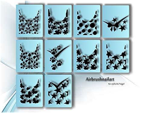 Airbrush Schablonen - Nailart Schablone selbstklebend - Nail Art Stencils French Design