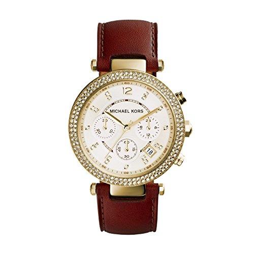 Michael Kors Parker - Reloj análogico de cuarzo con correa de cuero para mujer, color marrón/dorado