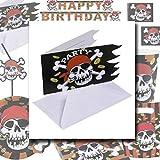 Party Einladungen Piratenparty Einladungsset 6 Stk. Karten Einladung Jolly Roger Piraten Einladungskarten Partydekoration Geburtstag Jungen Kindergeburtstag Dekoration Accessoires Partyeinladungen