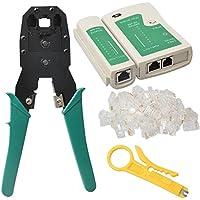 Juego de herramientas profesional para cables de red (crimpadora, pelacables, 100 conectores y