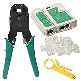 shizak Profi Netzwerk Werkzeug Set Kabel-Crimper & Cutting Tool entfernen, Punch Down Werkzeug (RJ11RJ12CAT5RJ45Kabeltester + Netzwerk Zange + Crimpzange Abisolierzange + 100Stecker Plug)