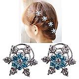 Musuntas 6er Set wunderschöne Sterne Blumen Haarspiralen Haarnadeln aus , Perle, Strass, Braut Hochzeit Perle Strass Haarschmuck Haarspiralen-bluen(