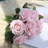 5 Köpfe Diana Rose, Frashing Unechte Blumen Blumenrebe Künstliche Deko Blumen Gefälschte Blumen Seidenrosen Plastik Braut Trockenblumen für Haus Garten Party Simulation Blumen (Rosa)