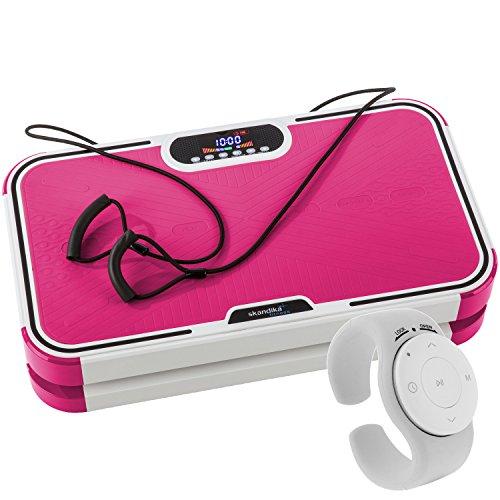 skandika Vibrationplate 800, Vibrationsplatte mit 60 Geschwindigkeitsstufen, starkem 200 Watt DC Motor, LC Bildschirm, Fernbedienung undverstellbaren Trainingsgurten, 120 kg Benutzergewicht, Pink