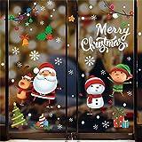 QIMMU Natale Vetrofanie Natale Decorazione Finestra Adesivi Murali Rimovibile Fai da Te Finestra,Decorazione Vetrina Wallpaper di Neve Christmas Decor Babbo Pupazzo di Neve (colorato)