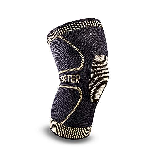 kniebandage männer sport, Knee sleeve Kompression für ski, gym, Laufen, Basketball, yoga, tennis, meniskus, Sport Arthritis und die alltägliche Nutzung-Bequem, Atmungsaktiv, Anti-Rutsch, Strapazierfähig- BERTER schwarz XL