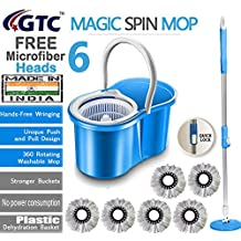 GTC Floor Cleaning PVC Dryer Bucket Mop with 6 Refills Color May Vary (Made in India)