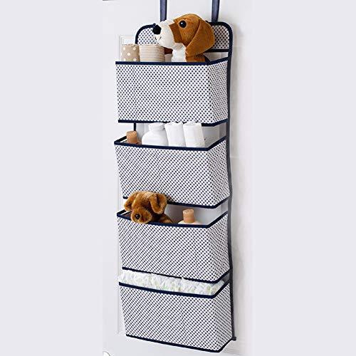 Meccion Kleiderschrank-Organizer, 4 Taschen, Stoff-Tür-Hängeaufbewahrung für Kinderzimmer, Schlafzimmer oder überall im Haus Schick blau -