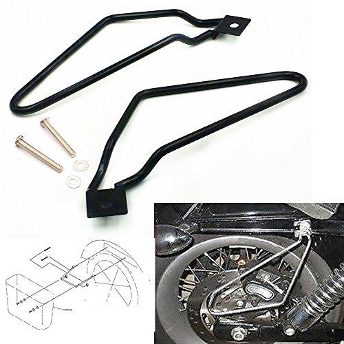 Schwarz Edelstahl Motorrad Tasche Gepäcktaschen Satteltasche Stützstangen Halterung Für Harley (Harley Motorrad Satteltaschen)