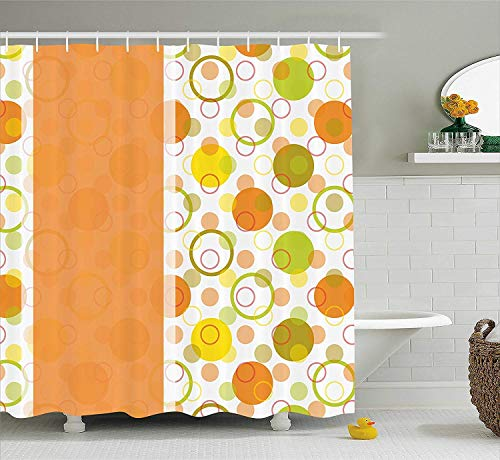 ewtretr Abstract Shower Curtain, Circular Shaped Round Icons Interlace Forms Retro Style Artsy Print, 60 * 72inch, Orange Yellow Lime Green Beautiful Interlace Panel