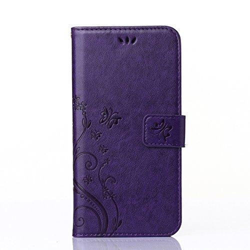 COOLKE papillon Imprimer étui en cuir PU Cuir Flip Magnétique Portefeuille Etui Housse de Protection Coque Étui Case Cover Support Avec des Cartes de Crédit Slot et Fonction Support pour Apple iPhone  Purple