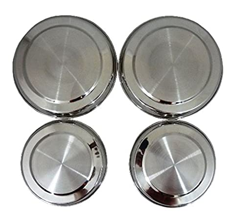 QUALITY 4 STAINLESS STEEL METAL SILVER CHROME ELECTRIC COOKER HOB RING COVER LID