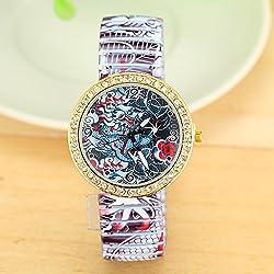 New Fashion Beautiful Women Elastic Band Rhinestone Dragon Watch For Women Dress Watches Quartz Watch AW-SB-1244