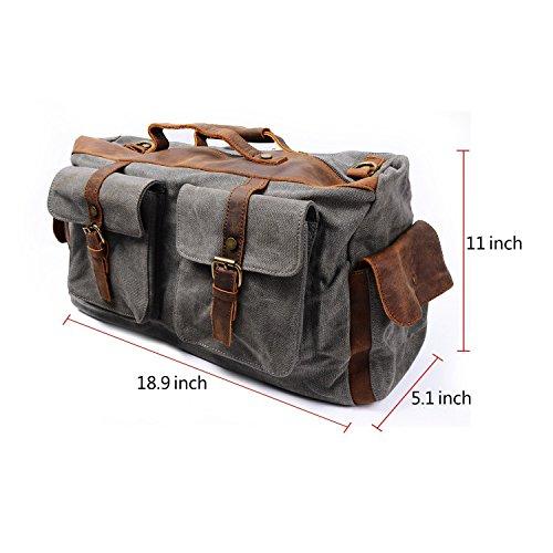 Lazutom stile Vintage, multifunzione con finiture in pelle Unisex Messenger Bags-Borsa a tracolla, per scuola militare grigio