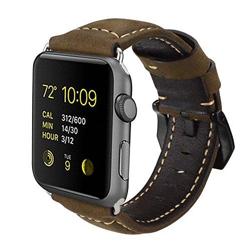 Armband für Apple Watch, Leder Armband Vintage Uhrenarmband für Apple Watch Sport/Edition Series 1 Series 2 Series 3 und Apple Watch Nike+ (42mm, Kaffee Uhrenband/ Schwarze Schließe)