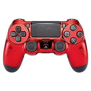 eXtremeRate Chrom-Gehäuse für Playstation 4 PS4 Pro Slim Controller (CUH-ZCT2 JDM-040 JDM-050 JDM-055) Chrom/Rot