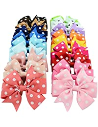 "Online Monk Original - 5 Piece Set - Boutique Baby Girls Colorful POLKA-DOTS Grosgrain Ribbon 3"" Hair Bows with Alligator Clips - (All Different Colors) - Pack of 5 Pcs of 3 Inch Bows"
