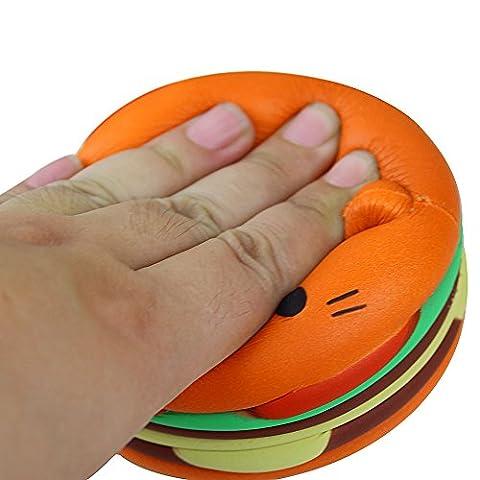 Jushwa Jumbo Food Squishise Cat hamburgers belle lente Rising stress soulagement jouet (Orange)