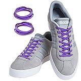 MAXXLACES Flache elastische Schnürsenkel mit einstellbarer Spannung in verschiedenen Farben Schuhbänder ohne Binden komfortable Schuhbinden einfach zu bedienen (Lila)