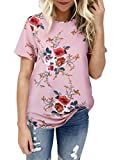 LEvifun Clearance Women Chiffon T-Shirt Lady Floral Short Sleeve Tops Blouse On Sale Plus Size (Pink, M)