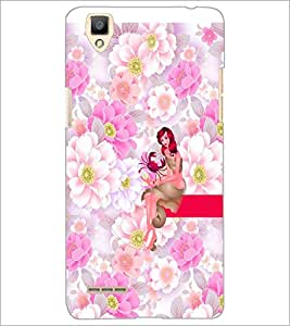 PrintDhaba Sweet Girl D-2962 Back Case Cover for OPPO F1 (Multi-Coloured)