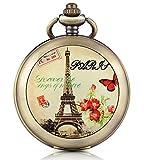 Unendlich U romantica Parigi Torre Eiffel Foto medaglione a carica manuale meccanico orologio da tasca quadrante nero scheletro orologio Maglione Collana, entrambe le catene
