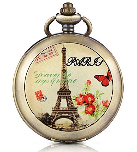 Unendlich U Romantisch Paris Eiffelturm Foto Medaillon Handaufzug Mechanische Taschenuhr Weißes Zifferblatt Skelettuhr Pullover Halskette, beide (Ideen Paris Kostüm)