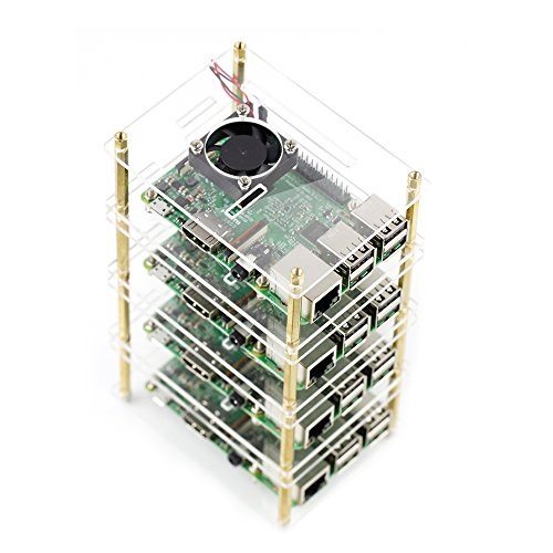 Projekt Starter kit Acryl Case Gehäuse mit Kühler Ventilator , Kühlkörper , Schraubendreher Ein / Aus-Schalterkabel für Raspberry Pi 3 Modell B+ and Pi 3 b (4 Schichten)