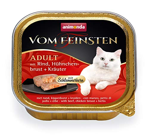 Animonda vom Feinsten Adult mit Schlemmerkern, Nassfutter für ausgewachsene Katzen von 1-6 Jahren, mit Rind, Hühnchenbrust + Kräuter, 32er Pack (32 x 100 g)