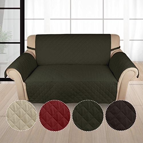 Kinlo copridivano 2-posto 167 * 112 cm verde scuro copripoltrona imbottito copertura trapuntato per sedia matte fodera per gli animali domestici anti-graffio antifouling divano di protezione