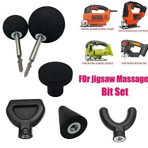 luoOnlineZ Jigsaw Massage Adapter,6 Stücke Percussion Massage Tipps mit 2 stücke Stange für Stichsäge Massagegerät Adapter Befestigung Worx