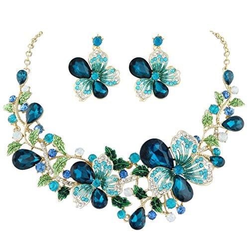 Flyonce Österreichischer Kristall Hochzeit Blume Blatt Rebe Teardrop Halskette Ohrringe Set Türkis Farbe Gold-Ton