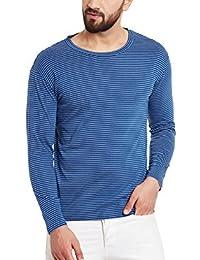 Hypernation Blue Stripe Round Neck Cotton T-shirt For Men