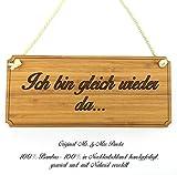 Mr. & Mrs. Panda Türschild Ich bin gleich wieder da... Classic Schild - 100% handgefertigt aus Bambus Holz - Schild Türschild Wandschild Wanddeko Deko Wanddeko Geschenk Hinweisschild Hinweis