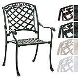 CLP Alu-Guss Garten-Stuhl INDIRA, Stapelstuhl mit Armlehnen, nostalgisches Design, Stuhl mit romantischen Verzierungen, stapelbarer Metallstuhl in verschiedenen Farben Antik-grün