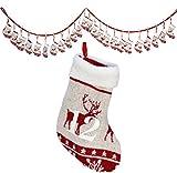 Weihnachtskalender Strümpfe / Dekorationsartikel / Strickmuster mit vielen weihnachtlichen Details: Elche, Sterne, Schneeflocken / ca.250cm lang / Strümpfe ca.13cm / Trendyshop365