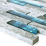 Glasmosaik Natursteinfliesen Sinop Grau Blau für Wandverkleidung Badfliesen Bad Mosaikstein
