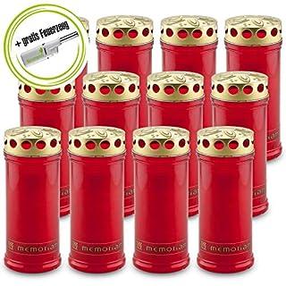 DecoLite: 12 Grabkerzen Memoriam Nr. 6 mit Deckel von Aeterna mit ca. 7 Tagen Brenndauer & Kerzenprofi Stabfeuerzeug - Rot