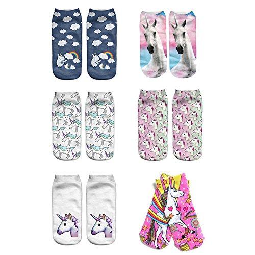 Mystery&Melody 6pcs unicornio dulce calcetines de algodón calcetines deportivos calcetines Corte Suave (6PCS)
